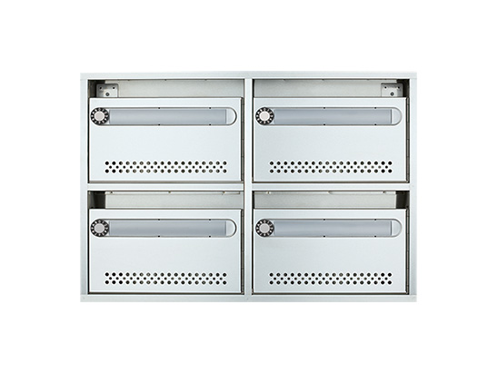 【4戸用】ナスタ 集合郵便受箱(AMN型) 前入前出 静音大型ダイヤル錠 KS-MB4AMN-L
