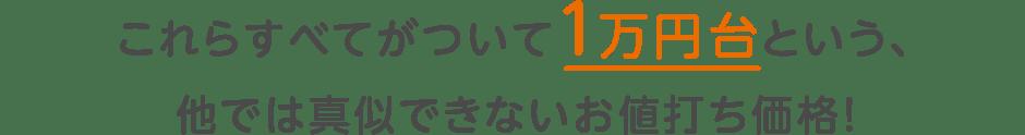 これらすべてがついて1万円台という、他では真似できないお値打ち価格!