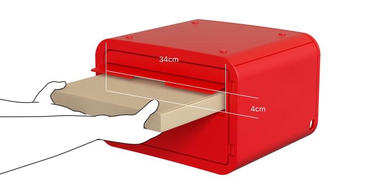 ポストタイプ 投函口の横幅34cm 縦幅4cm